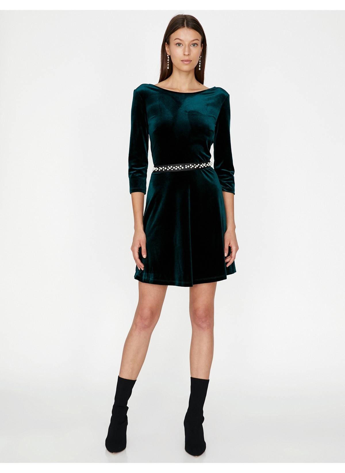 74132efeeee18 Koton Kadın İnci Detaylı Kadife Elbise Yeşil | Morhipo | 22068308
